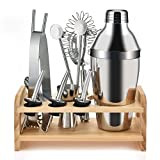 Image of Eluck Bartender Kit, 12 Piece Bar Set Stainless Steel Bartending Tools for Bar, Home and Traveling,Professional Premium Bar Tool Set and Cocktail Shaker Kit with Stylish wooden Stand