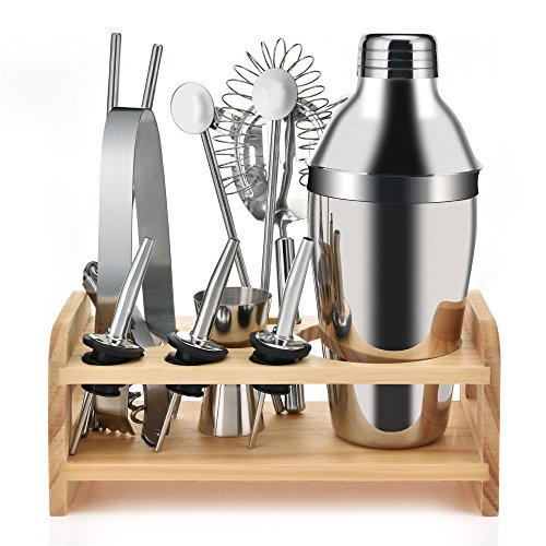 19 Ounce Cocktail Shaker Bar Set Accessories with Wooden Base Cocktail Shaker Strainer Measuring Cup Pipette Spoon Straws Ice Clip Pourer Multi-functional Opener Built-in Bartender Strainer 12PCS