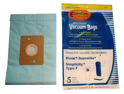 2 X Type F Riccar Vacuum Cleaner Replacement Bag (6 ()