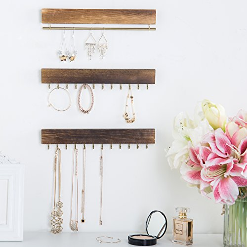 Set of 3 Rustic Wood & Gold Tone Metal Jewelry Organizers / Necklace & Bracelet Hook Racks / Earring Bar by MyGift (Image #4)