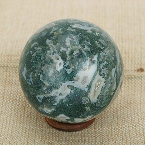 (Natural Crystal Moss Agate Crystal Ball Reiki Gemstone Sphere Ball for Healing and Meditation 55-60 MM)