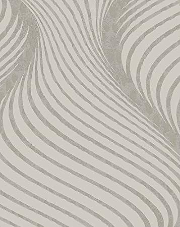 Tapete Modern Abstrakt A Relief 3d Taupe Wellen Effekt Metallic Glänzend  Glamour 57904.
