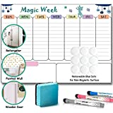Magnetic Dry Erase Weekly Board, Stainless Steel Refrigerator Magnetic Task Board 17'x11', Reminder Planner Set for Kitchen Fridge, Wooden Door, Office Glass Window