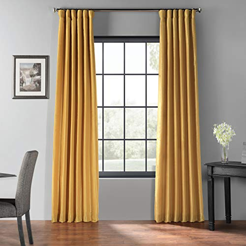 HPD Half Price Drapes PDCH-KBS30BO-96 Blackout Vintage Textured Faux Silk Curtain, 50 X 96, Allegro Gold (Allegro Fabrics)