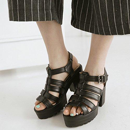Boucles Toe à Femmes Peep UH Plateforme Noir avec Gladiateur Moyen Talons avec Slingback Bloc Sandales gww1qcOPF