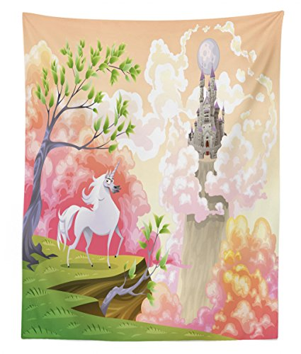 Lunarable Cartoon Tapestry Twin Size, Fantastic World with Unicorn and Gothic Castle on Air Princess Dream Image, Wall Hanging Bedspread Bed Cover Wall Decor, 68 W X 88 L inches, Coral and Green ()