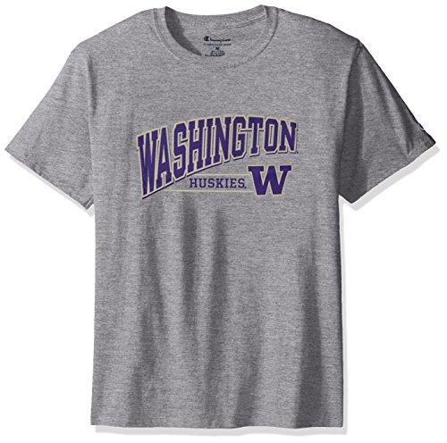 (NCAA Washington Huskies Men's Champ Short Sleeve T-Shirt 4, Small, Oxford Heather)