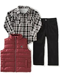 Calvin Klein Boys' Shirt, Vest and Corduroy Pants Set