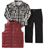 Calvin Klein Baby Boys' Shirt, Vest and Corduroy Pants Set, Red, 12 Months