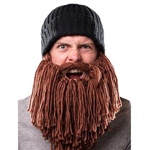 ... Bearded Hat Caps DZT1968® Winter Handmade Knit Warm Cap (Brown) ... f24dbcaea99