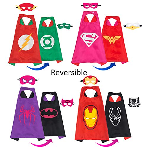MIJOYEE Superheros Capes and Mask 4 Costumes for Kids Cartoon Dress Up Double-Sided Costumes with Bonus Stickers and -