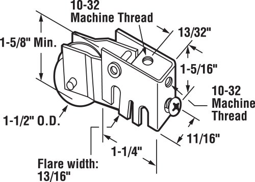 Prime-Line Products D 1534 Sliding Door Roller Assembly with 1-1/2-Inch Steel Ball Bearing by Prime-Line (Image #1)