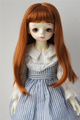 JD371 8-9inch 21-23CM Miranda Doll wigs 1/3 SD Synthetic mohair doll wigs Miranda Long hair with full bang BJD wig (Light carrot)