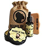 CHOCOLATE ORANGE | 2oz BEARD BALM Conditioner + 1oz OIL + WOOD COMB + SACK By BEARD of GOD | Organic & Natural Ingredients - Moisturizes Beard Hair and Skin & Eliminates Itching and Dandruff