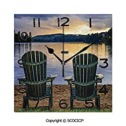 SCOCICI 8 Inch Square Face Silent Wall Clock Two Wooden Chairs On Relaxing Lakeside at Sunset Algonquin Provincial Park Canada Unique Contemporary Home and Office Decor