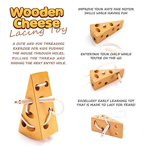 Montessori Wooden Cheese Toy for Toddlers, Best for Travel in Car and Airplane Mouse and Cheese Lacing Puzzle with Free Stress Relief Squeeze Ball, Educational Lace Up Activity Game Great for Age 3+