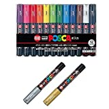Uni-posca Paint Marker Pen SPECIAL SET (a-set) , Mitsubishi Pencil Uni Posca Poster Colour Marking Pens Extra Fine Point 12 Colours (PC-1M12C) , Gold and Silver