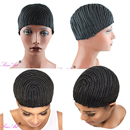SinoArt Clip in Cornrow Crochet Braids Wig Cap for Easier Sew Hair Weft Small Midium Large 3 Size 1B Off Black (Large) (Small Plastic Horseshoes)