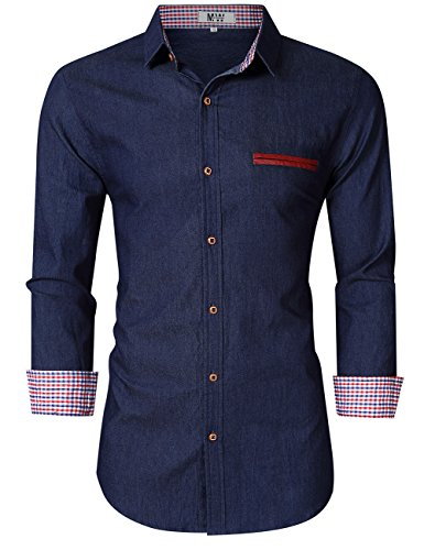 MrWonder Mens Casual Fit Button Down Shirts Long Sleeve Denim Shirts Dress Shirt
