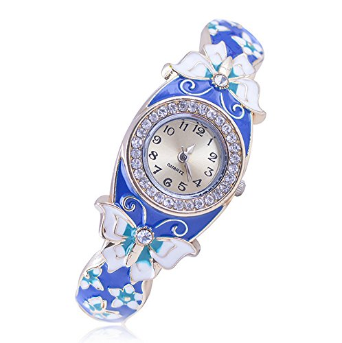 Enamel Watch Bracelet (FINGER LOVE Vintage Design Cloisonne Watches Bracelet Enamel Rhinestones Wrist Watch Butterfly (Royal Blue))