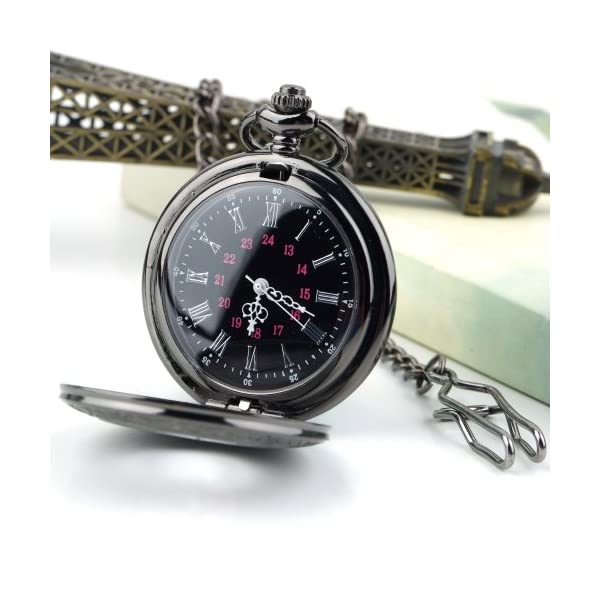 f657e7a88 MJSCPHBJK Black Pocket Watch Roman Pattern Steampunk Retro Vintage ...