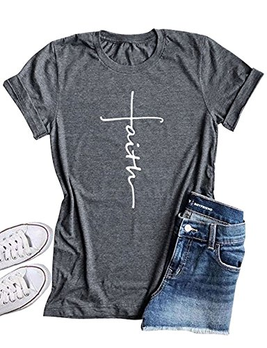 Qrupoad Women Cross Faith T Shirt Graphic Tees Christian Easter Shirts for Religious Gift Grey