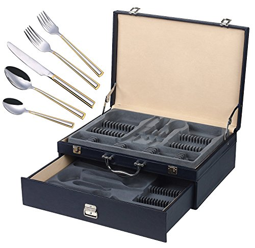 Clara Gold' 72-Pc Flatware Set with Leather Storage Case, Dining Cutlery Service for 12, 24K Gold plated 18/10 Stainless Steel Hostess Serving Set in a Chest ()