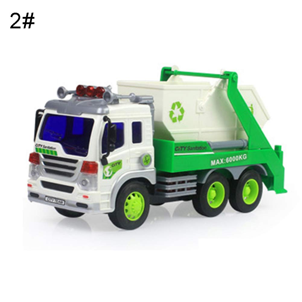 HongHong Outdoor Toys 1/16 Sanitation Truck Vehicle Car Model with Music LED for Boys and Girls Gift Sanitation Arm Car by HongHong
