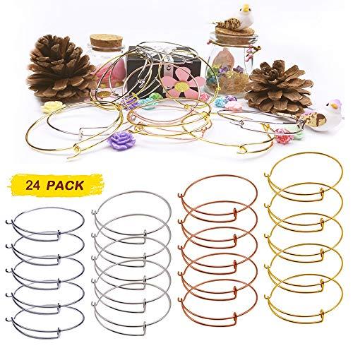 Expandable Bangle Set - 24 PCS Expandable Bangle Bracelet, Adjustable Wire Blank Bracelet Expandable Bangle for DIY Jewelry Making, White K, Silver, Gold and Rose Gold