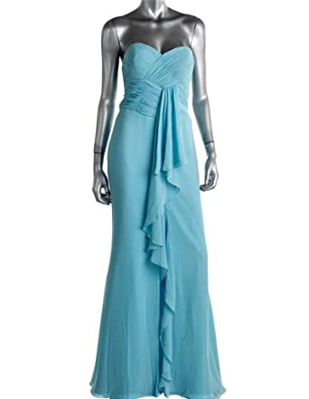 fbfde66f7276 FAVIANA COUTURE Women's Light Blue Chiffon Strapless Evening Gown Long Dress  Formal Prom Pageant Bridal SZ 4 New at Amazon Women's Clothing store: