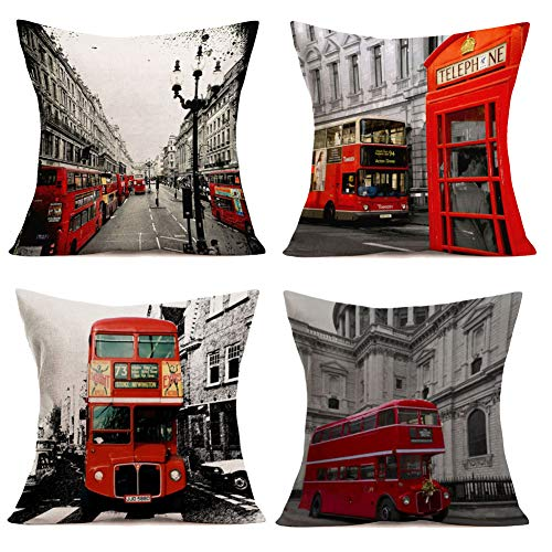 Royalours Pillow Covers Red London Bus & Telephone Booth Decorative Throw Pillow Cases Cushion Cover 18