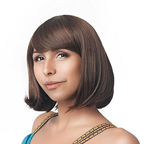 Short Brown Wig Daily Costume Cosplay Christmas Party Wig Straight Hair with Bangs Heat Resistant Realistic Wig for Women Lady Girls New Fashion (Velma Child Costumes)