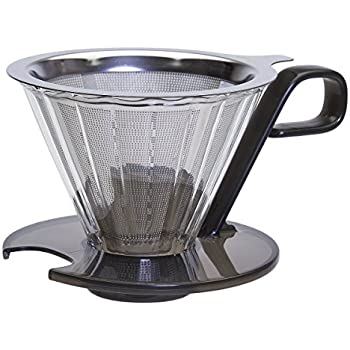 Primula Seneca 1-Cup Pour Over Coffee Maker – Temperature Safe Glass Cone and Doubled Lined Stainless Steel Mesh Filter – Universal Fit – Dishwasher Safe – Black