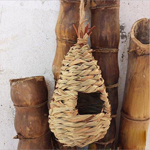 NW Hanging Straw Bird House Teadrop Shape Bird Nest Grass Bird Roosting