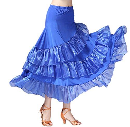 CISMARK Elegant Ballroom Dancing Latin Dance Salsa Tango Swing Skirt for Women Blue