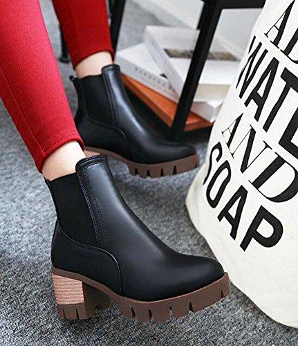 Chfso Mujeres Cómodo Solid Round Toe Pull En Mid Chunky Tacón Plataforma Botines Negro