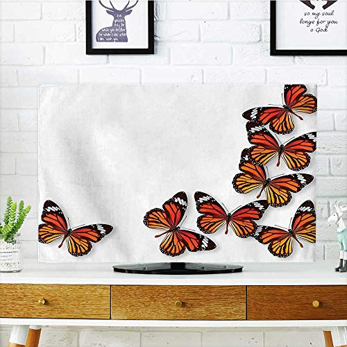Auraisehome Television Protector Monarch Butterfly Flying from Bottom Right Corner Insect Exotic Warm Weather Television Protector W30 x H50 INCH/TV 52