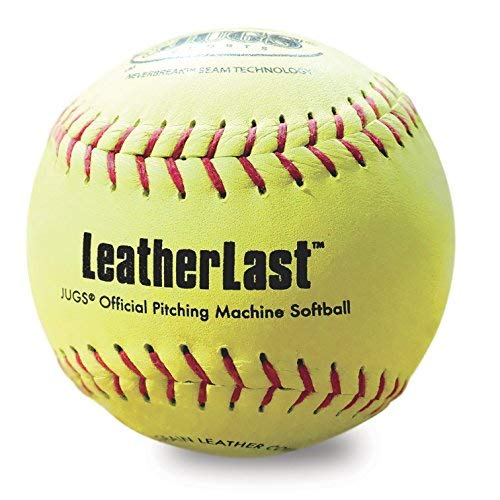 Jugs LeatherLast Softballs-1 Dozen. Regulation Size & Weight Leather Softball Designed specifically for Pitching Machines. Optic Yellow, Full-Grain Leather Cover. 1-Year Guarantee.