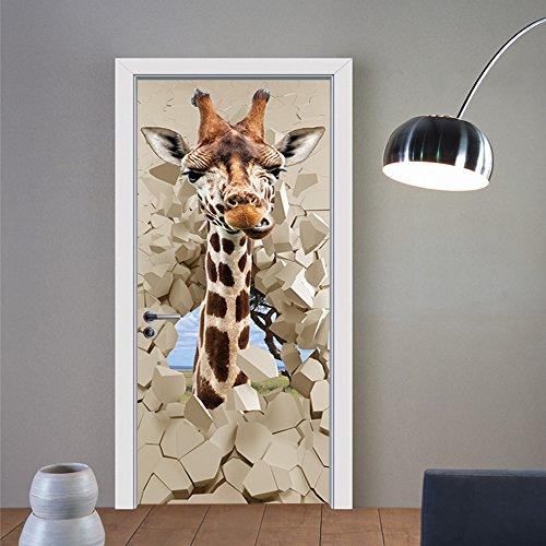 3D Door Decal Door Stickers Decor Door Mural Removable Vinyl Door Wall Mural Door Wallpaper for Home Decor(Giraffe) ()