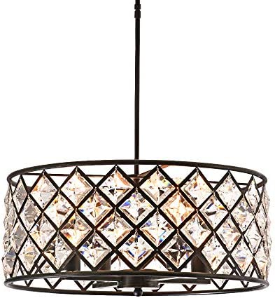 Maxax Flush Mount Crystal Chandelier 4 Lights Drum Pendant Lamp for Farmhouse,Dining Room Living Room, Kitchen