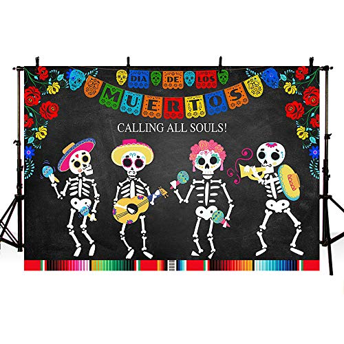 MEHOFOTO Mexican Dia de Los Muertos Party Decoration Photo Studio Background Props Calling All Souls Day of The Dead Sugar Skull Fiesta Colorful Flowers Halloween Photography Backdrop Banner 7x5ft