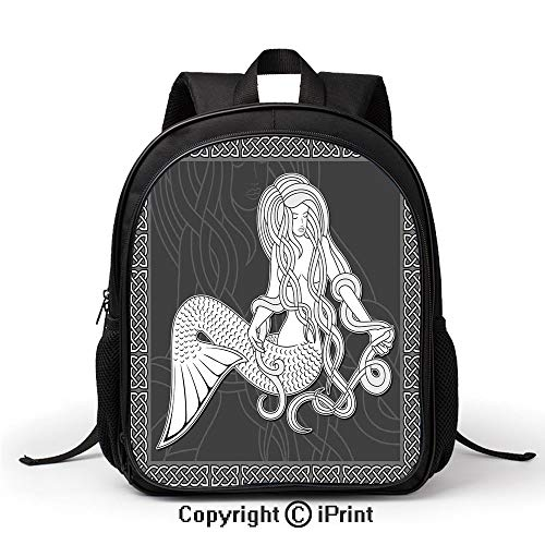 (School Kindergarten School Bag Retro Style Art Mermaid Brushing Hair and Border with Celtic Patterns Print Backpack :Suitable for Men and Women,School,Travel,Daily use,etc,Brown White)