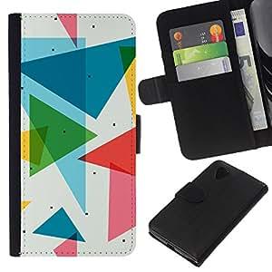 """JackGot ( Patrón Polígono Triángulo"""" ) LG Nexus 5 D820 D821 la tarjeta de Crédito Slots PU Funda de cuero Monedero caso cubierta de piel"""
