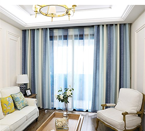 (AiFish Striped Grommet Semi Blackout Curtains 96 for Patio Door Classic Blue Beige/Ivory Stripes Window Drapes Room Darkening Heavy Drperies and Curtains Panels for Bedroom 1 Panel W52 x L96 inch)