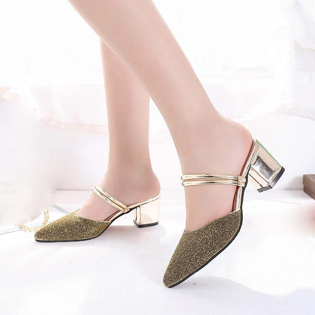 c2dedd9c06dd Amazon.com  Kasien Fashion Women s Sequins Pointed Shoes High Heel Slippers  Casual Ladies  Sandals  Clothing