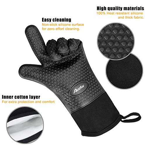 Auzilar Silicone Oven Mitts Extra-Long Heat Resistant Mitts Kitchen Gloves with Internal Cotton Lining for Cooking Pot Holder Grilling BBQ Baking Oven Fireplace Camping Kitchen and so on (Black) by Auzilar (Image #4)