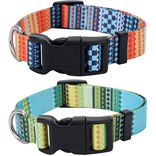 Lamphyface 2 Pack Dog Collar Adjustable Nylon Pet Collars for Small Medium Large Dogs Puppy
