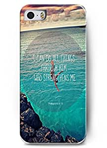 Deisign I can do all things through him who strengthens me - iPhone 5 / 5s - hard snap on plastic case - Inspirational and motivational life quotes