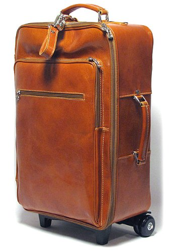 - Floto Luggage Venezia Handmade Trolley Wheeled Duffle, Olive/Honey Brown, Large
