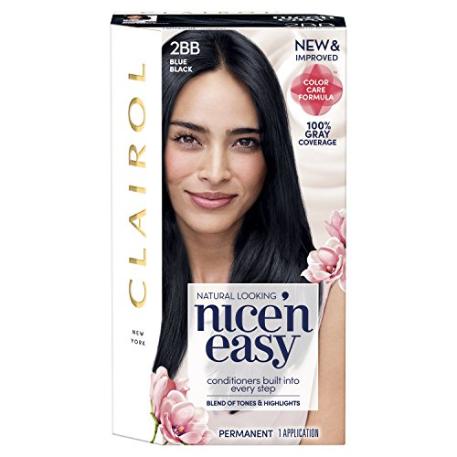 Clairol Nice'n Easy Permanent Hair Color, 2BB Blue Black, 1 Count (Best Permanent Blue Black Hair Dye)